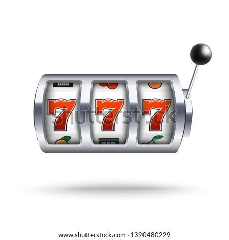 Silver slot machine with lucky three sevens jackpot in realistic style isolated on white background. Vector illustration of casino gambling one arm bandit and fortune chance.