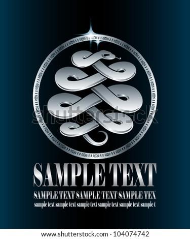 Silver snake label - vector symbol