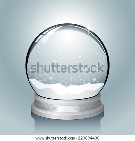 silver snow globe   realistic