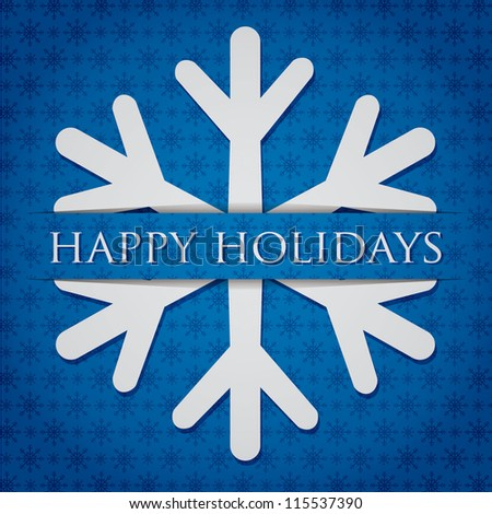 "Silver snowflake ""Happy Holidays"" card in vector format."