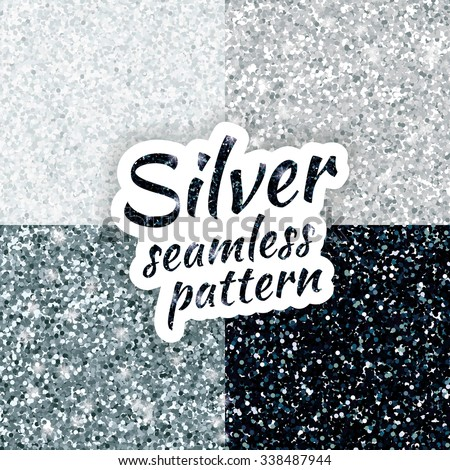 Silver sparkles texture, with shine and glossy confetti. Silver glitter for texture or background, for xmas, year, new, holiday, festive, event. silvern sparkles vector background, white, gray, black.