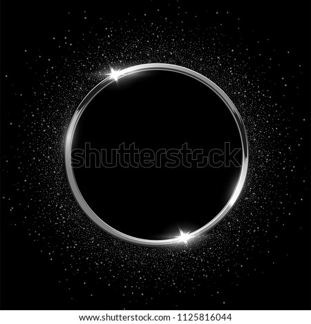 Silver sparkling ring with glitter isolated on black background. Vector luxury silver frame.
