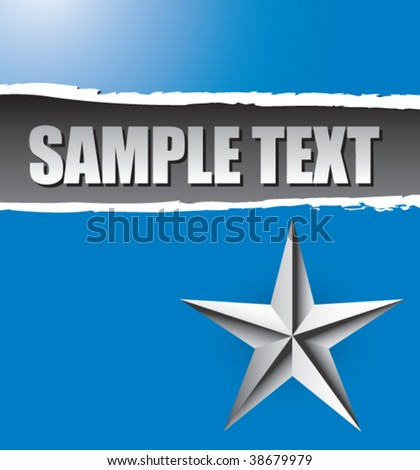 silver star on ripped blue banner template