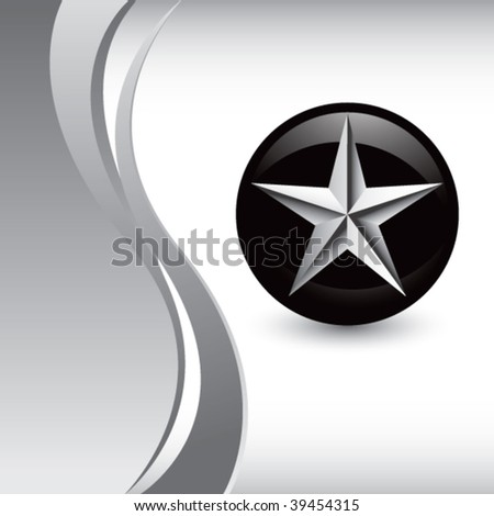 silver star on vertical silver wave