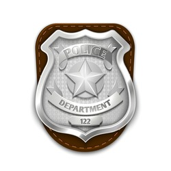 Silver steel police, security badge isolated on white background vector illustration. Emblem for sheriff or policeman
