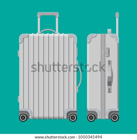 Silver travel bag. Plastic case. Trolley on wheels. Travel baggage and luggage. Vector illustration in flat style