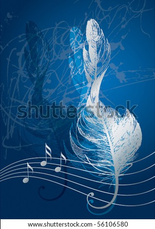 Silver treble clef in the form of the bird's feather on the blue background.