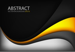 Silver vector background and orange yellow curve line on black space shadow overlap layer modern texture pattern for text and message website design