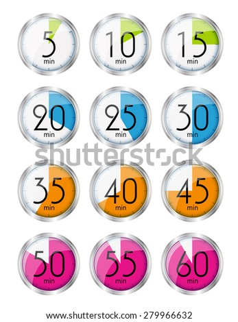 Silver Watch Designation Minutes. Vector Illustration EPS10