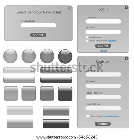 Silver web template with forms, bars and buttons.