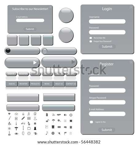 Silver web template with forms, bars, buttons and many icons. - stock vector