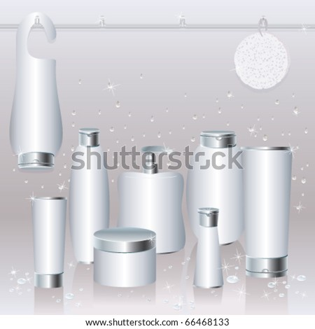 Silver-white set of cosmetics packaging