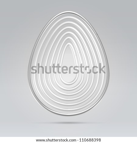 Silver wire glossy concentric ovals hanging over gray background - stock vector