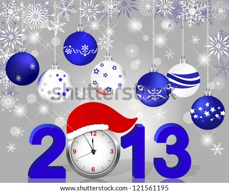 Silver 2013 with clock in Santa's hat and Christmas ball. Vector illustration.