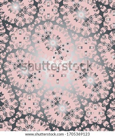 silver with Pink colors diyagonal mosaic tiles pattern. oriental geometric motif vector seamless print  Stok fotoğraf ©