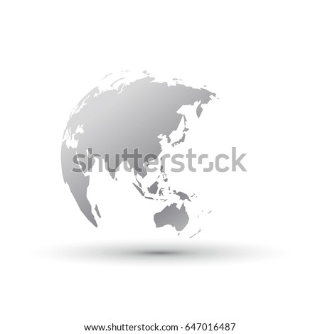 silver world globe asia japan