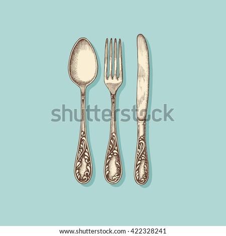 Silverware: fork, knife and spoon - vintage engraved illustration