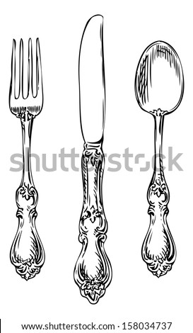 Silverware. Vintage spoon, fork and knife.