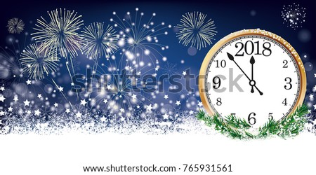 Silvester card header with clock 2018, snow, fireworks and stars on der dark background. Eps 10 vector file.