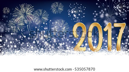 Silvester card header with snow, fireworks and stars on der dark background. Eps 10 vector file.
