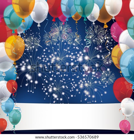 Silvester with colored balloons and fireworks on the blue background. Eps 10 vector file.