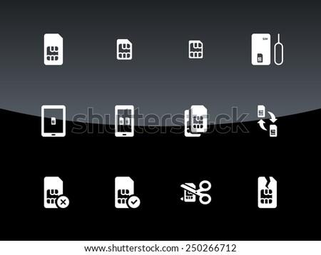 SIM cards (mini, micro, nano) icons on black background. Vector illustration.