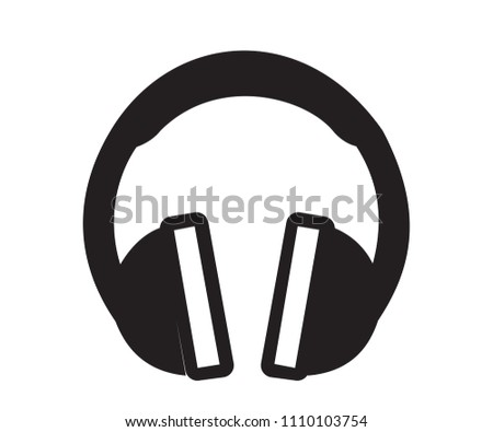simöle black headphones vector icon