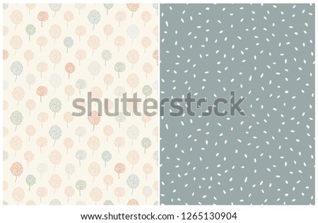 stock-vector-simple-abstract-floral-and-dots-pattern-pale-blue-green-and-red-abstract-trees-on-a-light-beige