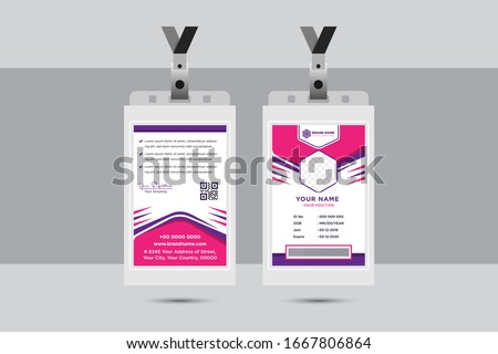 Simple Abstract Hexagon, Modern Business Card Template Design With Pink and Purple flat Color, Professional labour id Card Vector Editable. worker identity card with white background.