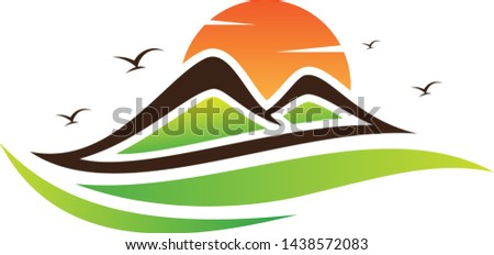 Simple abstract Landscape mountain with sun on the white background. Vector landscape for element design. Vector illustration EPS.8 EPS.10