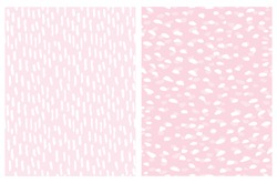 Simple Abstract Spots Seamless Vector Patterns. White Irregular Brush Spots and Stripes on a Light Pink Background. Lovely Geometric Pastel Color Delicate Backdrop. Funny Freehand Repeatable Print.