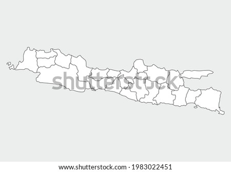 simple administrative,political and road map vector map of indonesian island java Foto stock ©