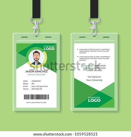 Simple and Clean Green ID Card Design Template