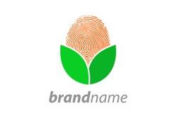 Simple and clean illustration logo design finger print leaf.