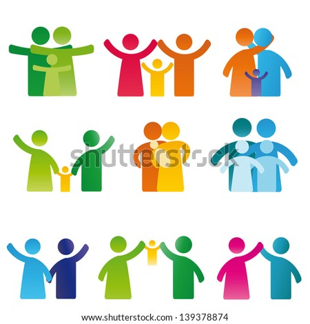 Simple and colorful pictogram showing figures happy family - stock vector