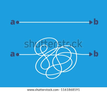 Simple and complicated paths. Easy and difficult way from a to b. Choice and success solution in business vector concept. Illustration of solution simple path, strategy way choice