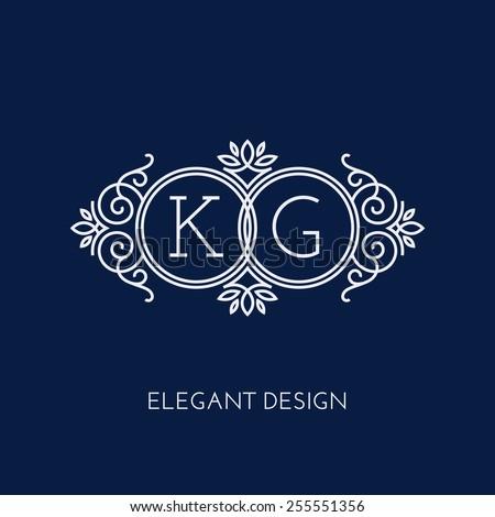 Simple and elegant monogram design template for two letters K G. Vector illustration.