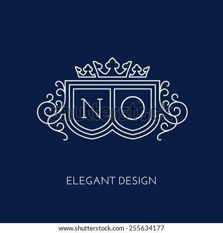 Simple and elegant monogram design template for two letters N O with a triple crown Vector illustration