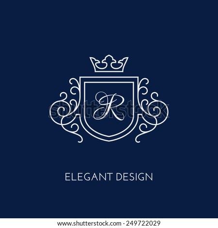 ... monogram design template with letter R and crown. Vector illustration