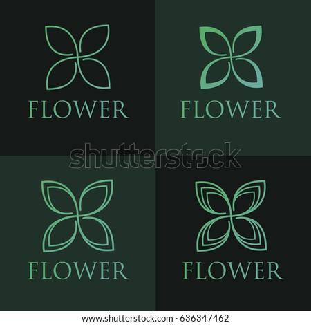 Simple and graceful floral monogram design template, Elegant line art logo design, vector illustration