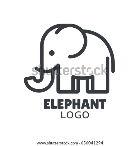 Simple and minimal elephant logo illustration. Modern vector line icon.