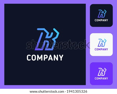 Simple and minimalist bright gradient and colorful outline letter K monogram initial logo in dark background with three icons Stock fotó ©