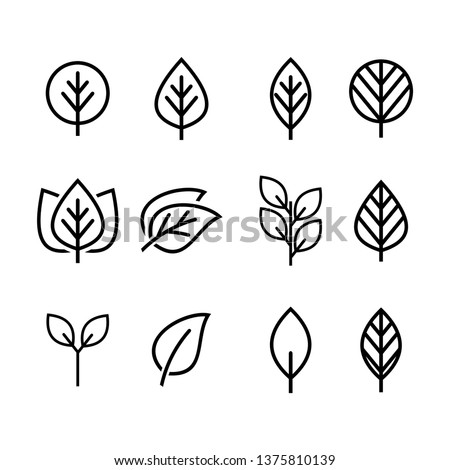 Simple and minimalist logo symbols of leaves with line