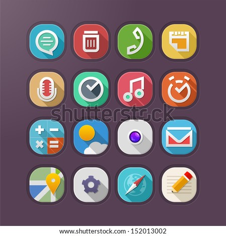 Simple and modern mobile app icons.
