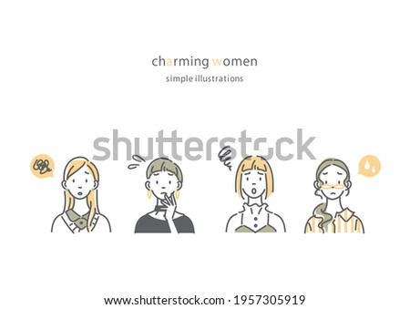 simple and natural women set, line art illustration Сток-фото ©