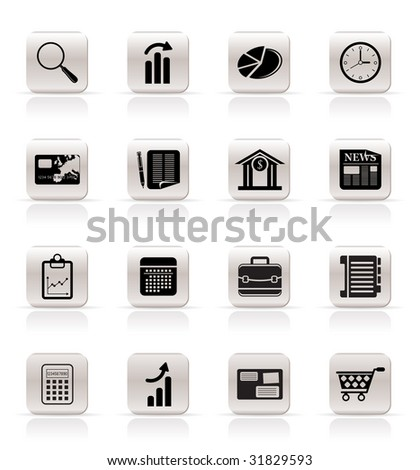 Simple and Office Realistic Internet Icons - Vector Icon Set 3