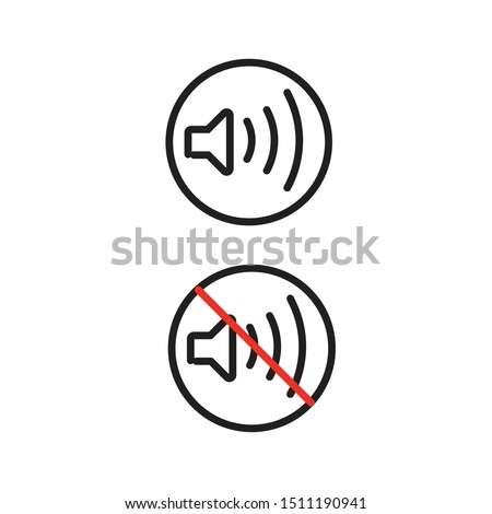 Simple and trendy speaker volume on and volume off icon vector illustration in outline style isolated on white background. Modern symbol of sound and mute wayfinding signage icon set.