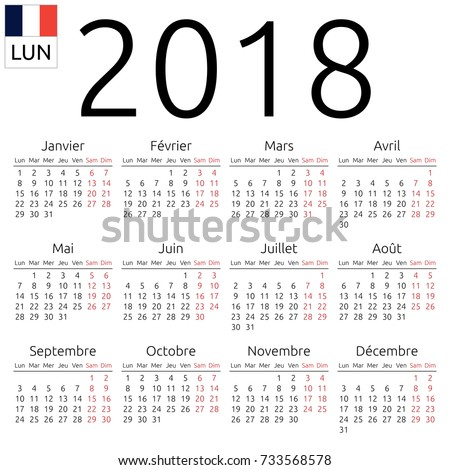 Simple annual 2018 year wall calendar. French language. Week starts on Monday. Saturday and Sunday highlighted. No holidays highlighted. EPS 8 vector illustration, no transparency, no gradients