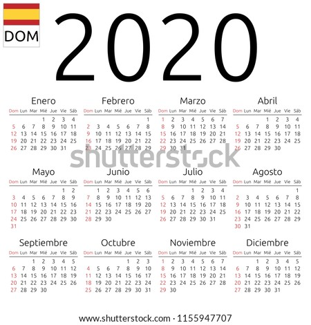 Simple annual 2020 year wall calendar. Spanish language. Week starts on Sunday. Sunday highlighted. No holidays highlighted. EPS 8 vector illustration, no transparency, no gradients