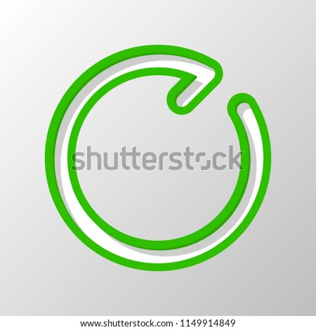 Simple arrow, update, reload, clockwise direction, forward. Navigation icon. Linear symbol with thin line. One line style. Paper style. Cut symbol with green bold contour on shape and simple shadow